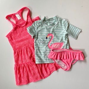 {Girls} 5T 2-Piece Rashguard Swimsuit and Cover-Up